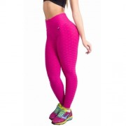 Calça Legging Academia em Tecido Bolha com Cós Alto Preta, Vermelha ou Amarela - KSF103