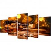 vidaXL Sada obrazov na stenu, motív Whiskey a cigara 200 x 100 cm