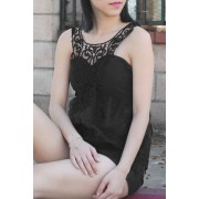 rosegal V Neck Embroidered Lace Tank Top