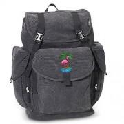 FLAMINGO LARGE Backpack Canvas Pink Flamingos School or Travel Bag