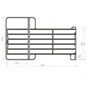 Kerbl Ohrada panel 2.2 x 3.6m pozink s bránou 1.1m   Jezdecké potřeby pro anglii i western AuraSHOP