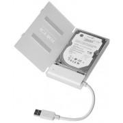 Cablu adaptor SATA la 1xUSB 2.0, alb + carcasa HDD alba