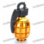 Fresco en forma de granada de neumaticos para bicicleta de valvula del neumatico Cap Dust Cover - Gold (Paquete de 2 piezas)