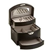 Black Euclide jewel box auto opening drawers, mirror in lid