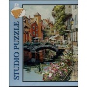 Flowers Along The Canal by George Guzzi as Part of His Italian Canals Collection - 1000 Piece Puzzle