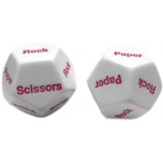 Custom & Unique {Standard Medium 16mm} 2 Ct Pack Set Of 12 Sided [D12] Shape Playing & Game Dice W/ Rounded Corner Edges W/ Classic Kids Games Gloss & Rock, Paper, Scissors Design [White & Pink]