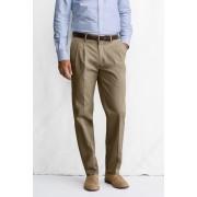 ランズエンド LANDS' END メンズ・ノーアイロン・ビジネス・ツイル・パンツ/脚長ダブルプリーツ(カーキ)