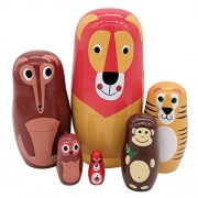 Set of 6 Cute Cartoon Lion Wolf Tiger Monkey Owl Squirrel Forest Animal Style Russian Nesting Dolls Matryoshka Dolls for Kids Toy Birthday Christmas Gift Home Deocration