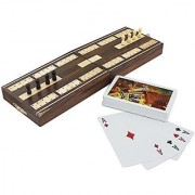 Wooden Board Card Game - Cribbage Boards and Pegs Set with Playing Cards Deck Handmade - 5.1 x 3.2 x 1.6