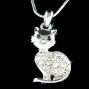 Clear Purring Cat Swarovski Crystal Animal Pet Pendant Necklace
