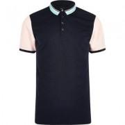 River Island Mens Navy contrast slim fit polo shirt
