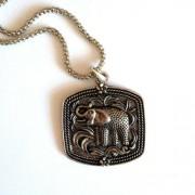 Tibeti ezüst elefántos hosszú nyaklánc