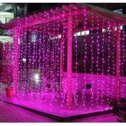 LED Fényfüggöny 2x1,5m átlátszó vezetékes pink