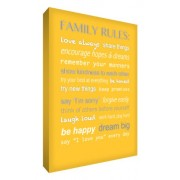 "Feel Good Art - Tela A4 in canvas ""Family Rules"", per la cameretta del bambino, colore: Giallo"