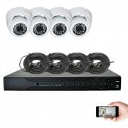 Kit vidéosurveillance 4 dômes AHD 720P 1MP 20m