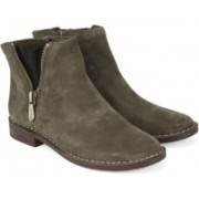 Clarks Cabaret Ruby Khaki Suede Boots(Green)