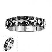 clássico simples anel não dos homens de pedra decorativos spindrift de aço inoxidável (preto) (1pc)