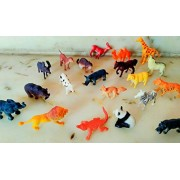 PLAY DESIGN Wild Animal Figures Set for Kids pack of 20 animals (Small Size) (Multi Colour)