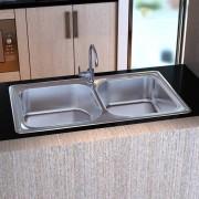 vidaXL Štvorcovitý kuchynský drez z nerezovej ocele a s dvojitou misou