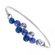 Swarovski kristályos nemesacél karperec - kék