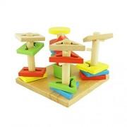 Star Mall Wooden Geometric Shape Sorting Board Building Blocks Baby Plan Toys
