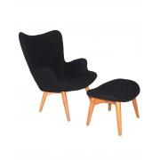 Replica Grant Featherston Contour Chair & Footstool - black soft cashmere