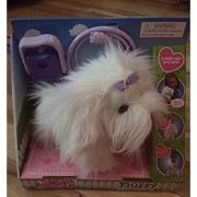 AniMagic Fluffy Go Walking Puppy - White with Purple Bow