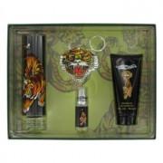 Christian Audigier Ed Hardy Eau De Toilette Spray + Shower Gel + Mini EDT + Keychain Gift Set Men's Fragrance 457831