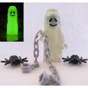 Lego Ghost Glow In The Dark Minifigure Spiders & Chains From Monsters Fortress Hideout Castle