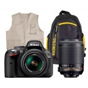 NIKON D3300 KIT AVENTURA CÁMARA REFLEX 24.2MP + OBJETIVOS AF-S DX 18-55mm + 55-200mm VR + KIT