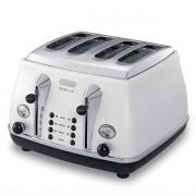 DeLonghi CTOM4003W Toster Retro na 4 kromki, 1800 W - Klasa 1