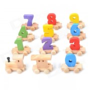 A809 Kid's Fun Number Wood Building Block Train Toy - Multicolored