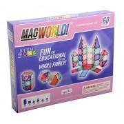 MagWorld Toys Pastel Magnetic Construction Set (60 Piece)