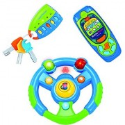 Babyfern Developmental Toy Steering Wheel Cell Phone & Car Keys Set with Lights & Sound for Toddlers (3 Toys in 1 Box!