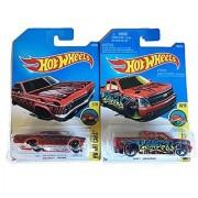 Hot Wheels Art Cars 2016 1965 Chevy Impala & Chevy Silverado Red Set 2-Car Set