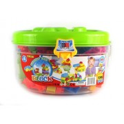 Fun Blocks Deluxe Learning 136 Piece Kids Childrens Toy Building Block Play Set, Comes in Clear Container, Bright Vivid Colors