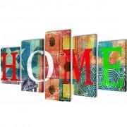 vidaXL Sada obrazov na stenu, farebný motív s nápisom Home 100 x 50 cm