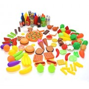 Seprovider Kids Pretend Food - 120 Pieces Tasty Treats Toy Food Deluxe Set for Baby - Build Children's Imagination - Fruits Vegetables Snacks Pizza for Pretend Play