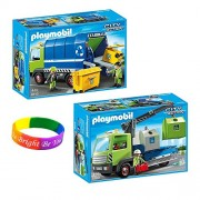 PlayMobil New Recycling Truck and Glass Sorting Truck Playset with Dimple Bracelet