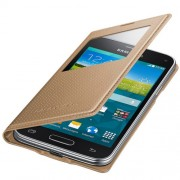 Husa S-View Flip Cover Gold Copper Punching Pattern pentru Samsung Galaxy S5 Mini (G800), EF-CG800BDEGWW
