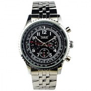 Gute Classic Multi-Functional Steel Wristwatch Black Dial 6Hands Hand Wind Mechanical Watch