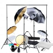 vidaXL Студийно осветление с 2 светкавици и 6 чадъра