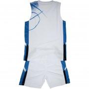 Баскетболен екип потник с шорти - бяло със синьо