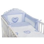 3 piezas ropa de cama de bebé de juego de copas de (cartucho de tinta para ajuste de uno o dos cama y espuma con funda extraíble y espuma con funda extraíble) - diseño de bordado de copos de nieve y corazones azul Talla:cuna - 140 x 70 cm