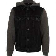 River Island Boys black jersey sleeve hooded denim jacket