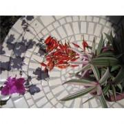Table jardin ronde en mosaique (160 cm) - table fer forgé