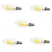 6W E14 Lâmpadas de Filamento de LED C35 6 COB 550LM lm Branco Quente / Branco Frio Decorativa AC 220-240 V 5 pçs