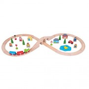 Bigjigs - Set tren via 8, 43 piezas (BIBJT012)