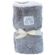 LUXE BABY Cloud Faux Fur Stroller Blanket Grey/Pink