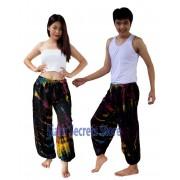 Black Tie dye Pants Unisex Harem Trousers with a Splash of Color